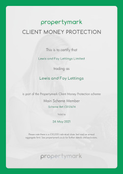 Property Mark - Client Money Protection - Certificate