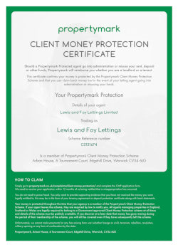 Property Mark - Client Money Property - Security Certificate